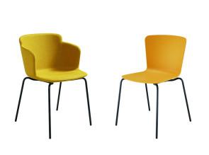 Collection chaise et fauteuil Calla, 4 pieds métal. Empilable avec la coque en poypropylène