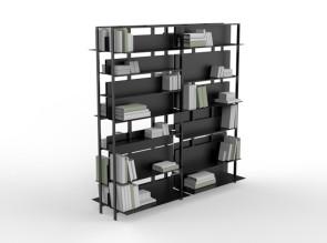Etagères sur pieds composées de 8 modules type 1, et tablettes A01, A02 et A03