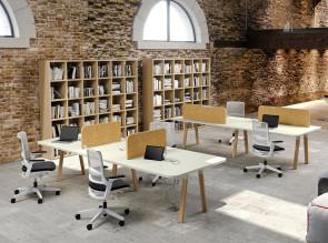 Bureau bench Atreo Wood, écran de séparation OSB