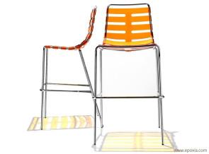 Chaises de bar Body to Body polycarbonate orange