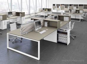 Bureau bench Loopy plateau tortora pied blanc