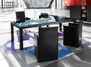 Bureau collection Abaco structure cuir à motif plateau verre