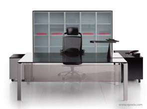Bureau collection Glider verre laqué noir, avec voile de fond métal