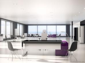 Bureau direction Oxygène laqué finition luxe avec desserte luxe violette