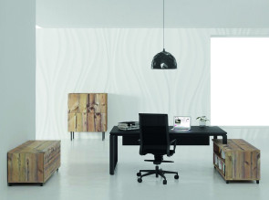 Bureau de direction Prestige sur rangement finition Timber