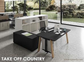 Bureau Take Off Country, plateau mélaminé noir, piètement bois