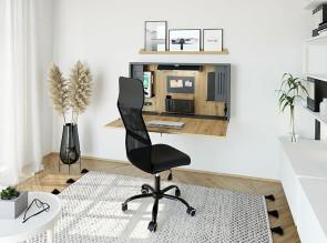 Bureau mural Mini Office en version ouverte, coloris graphite/chêne ambré