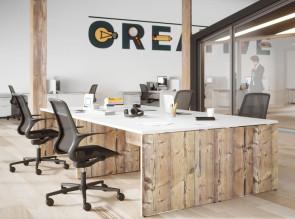 Bureau intemporel pieds panneaux timber plateau blanc Rétro fabrication française