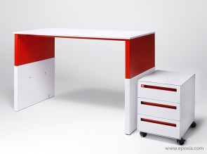 Caisson mobile design Work Space blanc et rouge