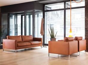 Ensemble canapé et fauteuils Elegance en cuir, pied métal