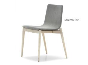 Chaise Malmö 391, assise en tissu ou similicuir
