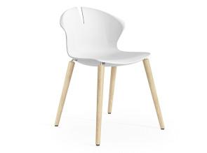 Chaise Arome pieds bois, coque polypropylène blanche