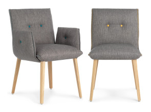 Chaise et fauteuil Soda en tissu et pieds bois