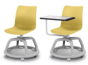Chaises Formation avec panier sur roulettes, et option tablette écritoire