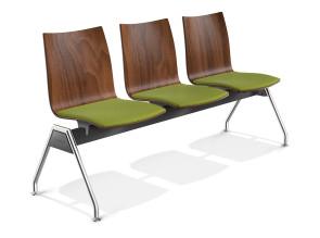 Chaises sur poutre Onyx 3 places, assises tapissées et dossiers hêtre teinté noyer