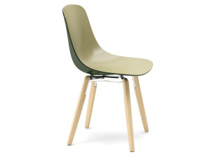 Chaise Pure Loop Nuance sur pied bois, bicolore Olive/Olive foncé