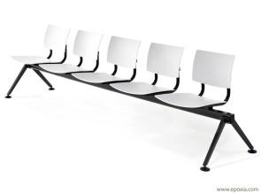 Banc d'accueil Bio, piétement laqué noire et assise blanche en polypropylène