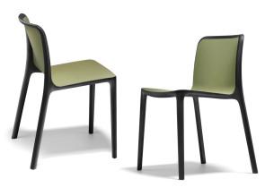 Chaise de collectivité empilable Bika, coque polypropylène vert Olive