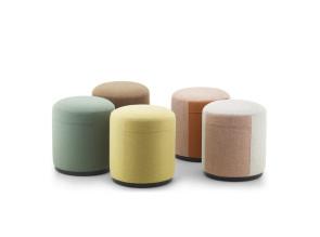 Collection de poufs uni ou bicolore Cyl.