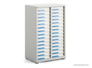 Comptoir à tiroirs en acier, 2 colonnes