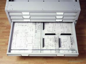 Meuble à plans avec tiroirs compartimentables