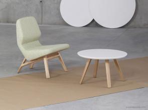 Fauteuil lounge rembourré Oblique structure chêne clair