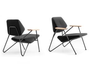 Fauteuils design Polygon Outdoor, pieds et assise noirs