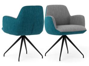 Fauteuil grand confort Moods #101 tissu bicolore gris/bleu turquoise