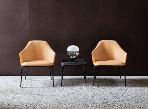Table basse Lea, table carrée avec plateau finition céramique Noir Désir