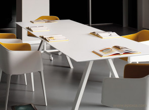 Grande table de réunion full white
