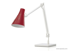 Lampe de bureau Solus tête bordeaux et corps blanc