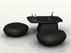 Table basse avec poufs assortis noirs