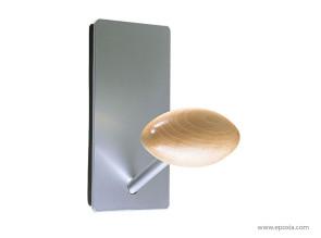 Patère hêtre, support magnétique aluminium