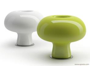 Pots laqués blanc et vert acide - usage intérieur non plus.