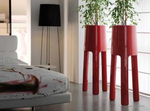 Pots design Sepio rouge laqué