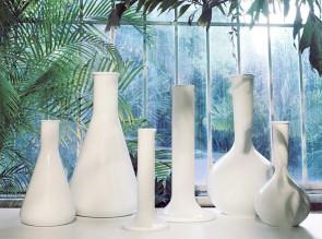Vases Chemistube laqué blanc, 3 modèles disponibles en 2 hauteurs