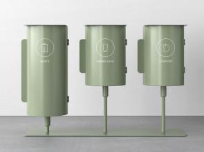 Trio de poubelles Birdie sur socle, 43 et 63 litres