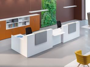 Banque d'accueil Adelis blanche et comptoir Tweed