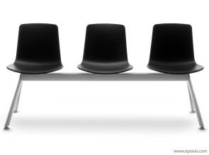 sièges poutre Lottus noirs trois places