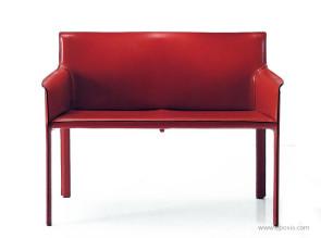 Sofa Pasqualina cuir rouge