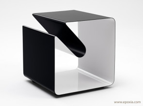 Table basse mobile line noire cube