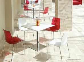 Table de restauration carrée stratifié blanc