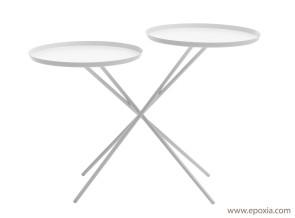 Table d'appoint 2 plateaux Monday métal blanc
