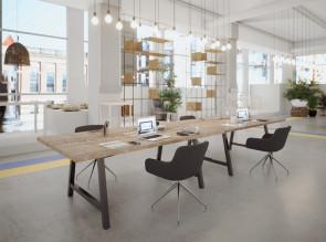 Bench / Table de réunion Cohésion, plateau timber et pieds noir mat type indus