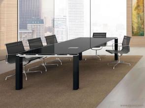 Table de réunion verre noir Step + pieds acrylique brillant noir