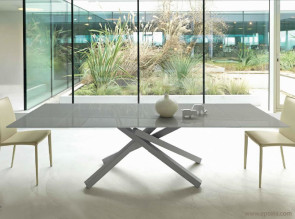 Table extensible design verre brillant sable Pechino