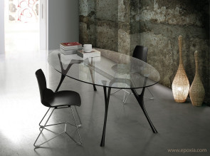 Table ovale Pegaso verre transparent