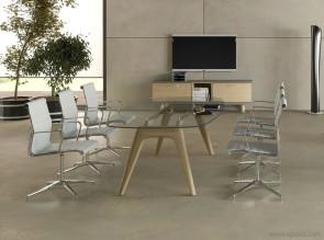 Table de réunion en verre Rail pieds chêne naturel