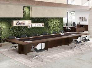 Table de réunion Oasi, plateau bi-matière bois et cuir