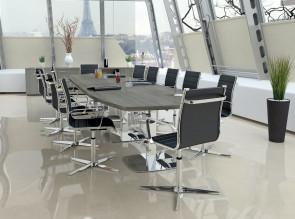 Table de réunion tonneau Harmonie, plateau épaisseur 38 mm, pieds tulipe chromés